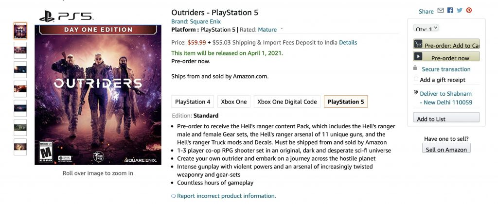 Outriders System Requirements preorder